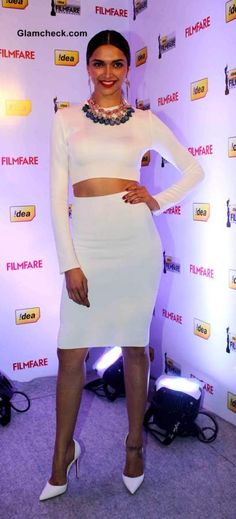 Deepika Padukone 2014 in White Zara Cropped Top