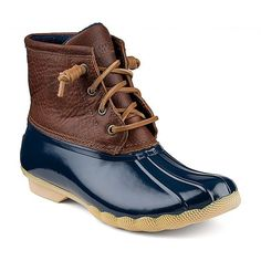 Women's Saltwater Duck Boot in Tan and Navy by Sperry Top-Sider ($100) ❤ liked on Polyvore featuring shoes, boots, sperry top-sider, preppy shoes, preppy boots, side zipper boots and tan shoes
