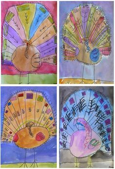 These lovely turkeys were shared with me awhile back, but they are still some of my favorite. Volunteer art docent Tricia from Brentwood, CAhad her 4th grade students first draw them on 12×18 white paper with Sharpies.They added oil pastel accents and finished with water color from edge to edge. Love the color!