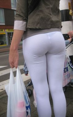 high definition visible panty line in white yoga pants