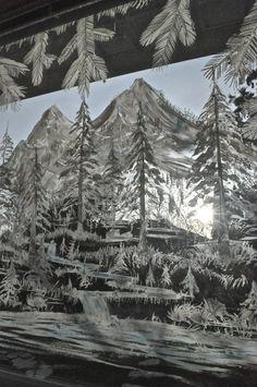 Snowy forest doors