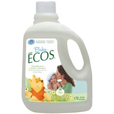 @Disney Baby ECOS® Laundry Detergent: Give your family the comfort and softness of the Hundred Acre Wood. Baby ECOS® laundry detergent featuring Winnie the Pooh is an everyday laundry detergent that is gentle for Baby's sensitive skin. It rinses thoroughly, leaving Baby's laundry clean and soft. Available in Free & Clear (Fragrance Free) and Lavender & Chamomile scents, each in one of three sizes.