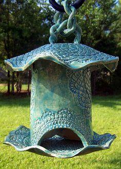 Hand Ceramics Ceramic Art - Sold Tourqouise Pottery Bird Feeder by Amanda Sanford