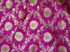 Indian Fabric Banarasi Magenta Silk Brocade Fabric -Banaras blended Silk Fabric Remnant - Dress Material for Weddings by the yard