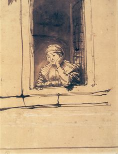 Rembrandt - Saskia Looking Out of a Window. For me - it's always been Rembrandt. Rembrandt Etchings, Rembrandt Drawings, Illustrations, Illustration Art, Baroque Art, Dutch Painters, Dutch Artists, Leiden, Old Art