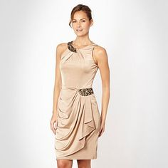 Gold asymmetric draped jersey dress - Evening & party dresses - Dresses - Women -