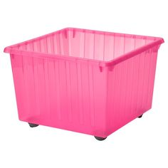 IKEA - VESSLA, Storage crate with casters, light pink, Casters included. The top edge serves as a handle, which makes the storage crate easy to lift and carry. Saves space when not in use. Can be used with VESSLA lid. Ikea Storage, Crate Storage, Small Storage, Toy Storage, Pot Lid Organization, Lid Organizer, Organizing, Ikea Friheten, Childrens Storage Furniture