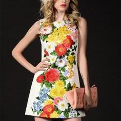 O-Neck Sleeveless Floral Pr..