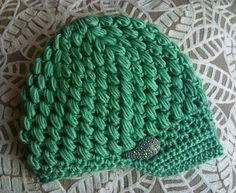 Mint Green Beanie with pin by owlbolt on Etsy, $25.00