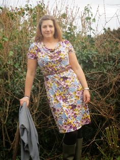 Sew over it ultimate cowl neck dress OR 'When is floral fabric too floral'. New Dress Pattern, Sew Over It, Cowl Neck Dress, Floral Fabric, Black Cotton, Dress Skirt, Sewing Patterns, Short Sleeve Dresses, Lemon Drops