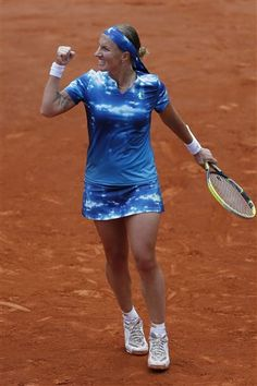 Russia's Svetlana Kuznetsova clenches her fist after scoring a point against Germanys Angelique Kerber in their fourth round match at the French Open tennis tournament, at Roland Garros stadium in Paris, Sunday June 2, 2013. Kuznetsova won in three sets 6-4, 4-6, 6-3. (AP Photo/Petr David Josek) 	Next