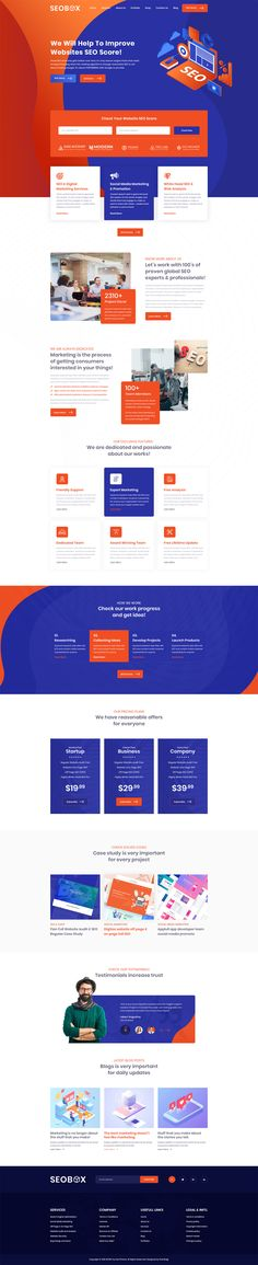 SEO And Creative Agency PSD Website Template design modern colurful UI Website Design Layout, Web Layout, Website Designs, Design Layouts, Design Ideas, Game Ui Design, App Design, Website Design Inspiration, Ui Inspiration