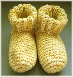 Crochet Slipper Socks Booties Golden Yellow & by DebbieCrochets, $15.00