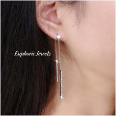 """💎Swarovski Zirconia linear dangling bars, with a unique pavé crystal design for a brilliant sparkle. 💎DETAILS & CARE ▫️Approximately 1 1/2"""" drop ▫️Push back closure. ▫️Pavé Swarovski Zirconia crystals. ▫️Sterling Silver. ▫️Handcrafted exclusively by Euphoric Jewelz. ▫️Designed and made in the USA of imported materials. 💎 