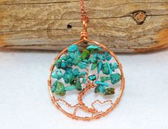 Turquoise and copper tree of life pendant necklace