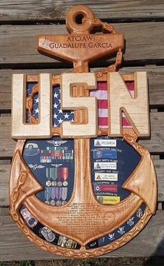 Chief Senior or Master Chief Anchor Shadow Box Military Retirement, Military Gifts, Retirement Gifts, Retirement Ideas, Marine Corps, Navy Medals, Military Shadow Box, Diy Shadow Box, Navy Chief