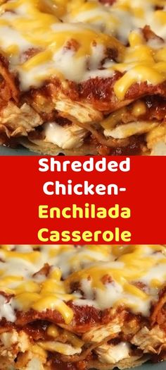 Chicken spinach and mushroom low carb oven dish Make this low carb dish for your family. It has chicken, mushrooms, spinach, cheese and wonderful flavors everyone will enjoy. This spinach artichoke chicken casserole is low carb and Shredded Chicken Casserole, Shredded Chicken Enchiladas, Chicken Enchilada Casserole, Skinny Taste Chicken Enchiladas, Healthy Shredded Chicken Recipes, Ww Recipes, Gourmet Recipes, Mexican Food Recipes, Cooking Recipes