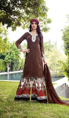 Augment your charming persona clad in this white and brown color jacquard cotton palazzo dress. The ethnic resham work to the attire adds a sign of attractiveness statement with your look. #MelodicBrownPrintedPalazzoDress