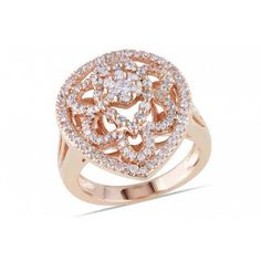 Ice on Wondermall - 1 3/8 CT Cubic Zirconia 18K Rose Gold Plated Sterling Silver Ring