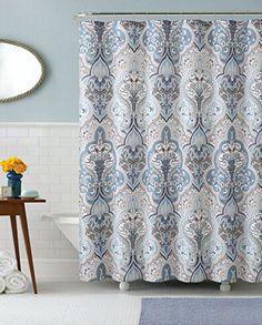 Amazon.com: Calais Dobby Fabric Shower Curtain: IKat Floral Design (Blue