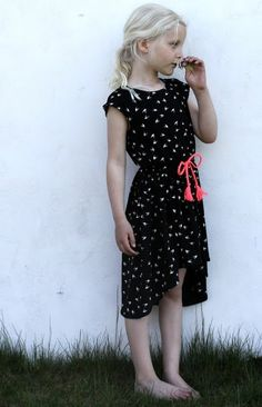 Little girl outfit: black hi low dress with white birds and neon belt