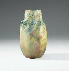 François-Emile Décorchemont, vase pâte de verre fougères, vers 1920