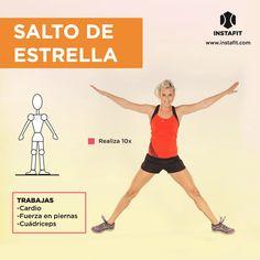 Salto de estrella. Ideal para trabajar cardio, fuerza en piernas y cuádriceps.