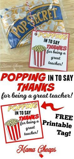 Use this Popcorn Themed Teacher Gift for a quick and easy Teacher Appreciation gift or end of the school year gift. Just add popcorn!