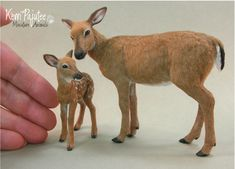 Miniature 1:12 scale Doe and fawn sculpture by Pajutee.deviantart.com on @DeviantArt
