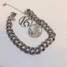 SWEET 16 & NEW YORK / DOUBLE LINK ELCO VINTAGE STERLING SILVER CHARM BRACELET  #Unknown