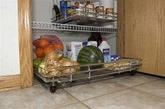 Shelf On Wheels 80 Expandable Kitchen Pantry Roll Out with Wheels - The expandable Wire Shelf On Wheels is the perfect way to organize pantry floors. Expands from 16 inches to 24 inches. - $55 - Width16 inches Length18 inches Height3 inches Depth18 inches