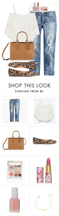 """Untitled #2439"" by abigailtaylor ❤ liked on Polyvore featuring J.Crew, Zara, Henri Bendel, Madewell, TheBalm, tarte, Essie and BaubleBar"