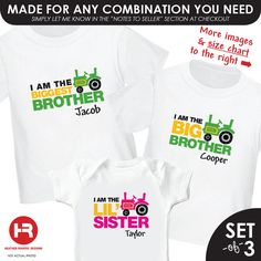 Green Tractor Biggest Brother Shirt, Green Tractor Big Brother Shirt & Pink Tractor Little Sister Shirt - 3 personalized sibling shirts. $48.00, via Etsy.
