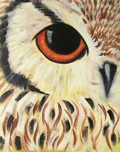 By Cinnamon Cooney . The eye of an owl looks at you as you paint it. All seeing owl by hARTpARTY on YouTube. Full tutorial