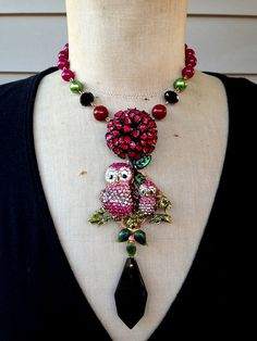 Vintage Collage Necklace Owl Necklace Bird Necklace di rebecca3030, $185.00