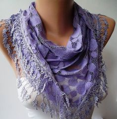 Lilac Lace and Elegance Shawl / Scarf  with Lace by SwedishShop, $17.90