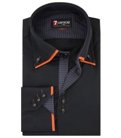 Camicia Uomo 3 Bottoni Button-down Doppio Collo Satin Unito nero