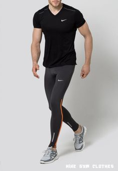 Gym Clothes for Men : Nike Performance TECH Tights anthracite/total orange/reflective silver Zalando. Sport Fashion, Fitness Fashion, Fashion Wear, Cristiano Jr, Look Street Style, Mens Tights, Gym Tops, Running Pants, Mens Fitness