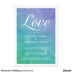 "Watercolor Wedding 5"" X 7"" Invitation Card"