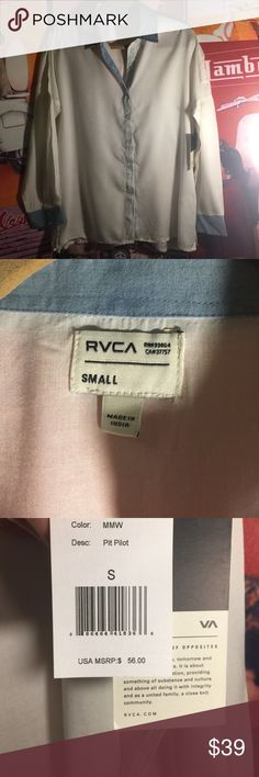 RVCA SHIRT-NEW WITH TAGS RVCA 90% Rayon, 10% Cotton , white with light blue collar and cuffs ***BUNDLE ME WITH ONE OR MORE ITEMS FOR my 20% off discount !🎉🎉🎉 RVCA Tops Button Down Shirts