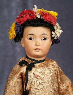 "16"" German bisque Asian character, model 164, Simon and Halbig, in traditional costume 500/700 Auctions Online 
