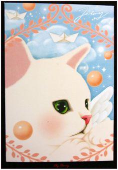 """Carte postale chat jolie impression matte série angel """"modèle 4"""" x1 : Papeterie, carterie par lilycherry"""