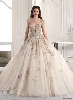 Wedding Dress Ball Gown demetrios 2019 starlight bridal cap sleeves deep sweetheart neckline heavily embellished glamorous princess ivory gold ball gown a line wedding dress sheer button back chapel train mv -- Demetrios 2019 Wedding Dresses Colored Wedding Gowns, Sheer Wedding Dress, Wedding Dress Trends, Perfect Wedding Dress, Wedding Dress Styles, Gown Wedding, Gold Wedding Dresses, Embellished Wedding Gowns, Gatsby Wedding