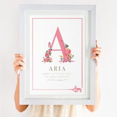Floral Initial New Baby Print Personalised Baby Prints, Nursery Prints, Nursery Frames, Cuadros Diy, Winnie The Pooh, Welcome Home Baby, Baby Posters, Baby Frame, Baby Painting