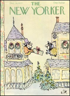 The New Yorker Cover - December 1977 Poster Print by William Steig at the Condé Nast Collection The New Yorker, New Yorker Covers, Art Christmas Gifts, Vintage Christmas, Christmas Time, Christmas Illustration, Illustration Art, Winter Illustration, Cover Art