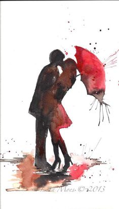 Watercolor art Couple kissing & holding a red umbrella