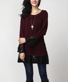 Another great find on #zulily! Burgundy & Black Lace Cable Knit Tunic #zulilyfinds
