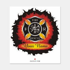 Fire and Rescue Flames Firefighter Sticker firefighter female, firemen gifts, firefighter shadow box #fireunion #ff #firewife, back to school, aesthetic wallpaper, y2k fashion