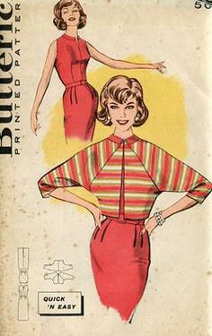 Sewing Patterns,Vintage,Out of Print,Retro,Vogue Simplicity McCall's,Over 7000 - Butterick 9339 Retro 1950's Dress Raglan Jacket 38