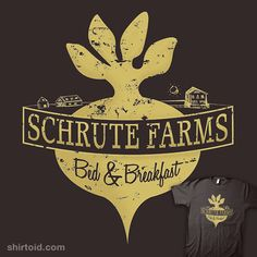 Shop schrute-farms schrute farms bed and breakfast dwight schrute the office t-shirts designed by as well as other schrute farms bed and breakfast dwight schrute the office merchandise at TeePublic. T Shirt Designs, Dwight Schrute, Office Memes, The Office Shirts, Dunder Mifflin, Paper Companies, Parks N Rec, Cool Shirts, Nerdy